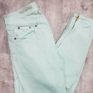 J CREW Mint Toothpick Ankle Zip Skinny Jeans Sz 25